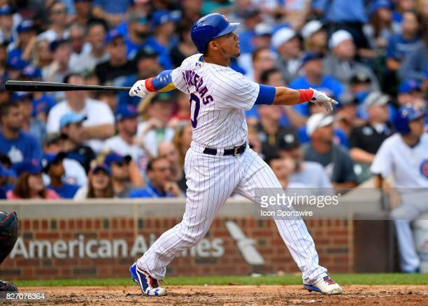 Chicago Cubs catcher Willson Contreras hits a home run during the game between the Washington Nationals and the Chicago Cubs on August 6 2017 at...