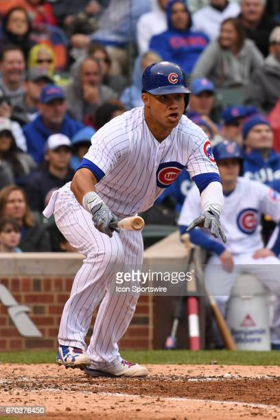 Chicago Cubs catcher Willson Contreras hits an RBI single in the sixth inning during a game between the Milwaukee Brewers and the Chicago Cubs on...