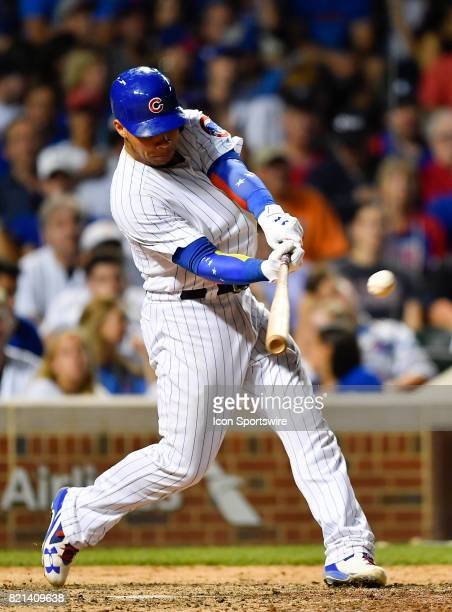 Chicago Cubs catcher Willson Contreras hits the ball for an out during the game between the St Louis Cardinals and the Chicago Cubs on July 23 2017...