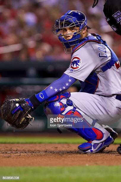 Chicago Cubs catcher Willson Contreras looks back to the dugout during a MLB baseball game between the St Louis Cardinals and the Chicago Cubs on...