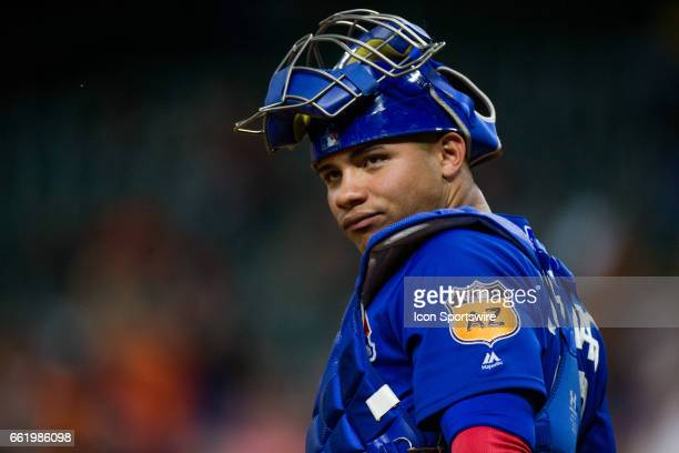 Chicago Cubs catcher Willson Contreras reacts after Josh Reddick hits a homer in the second inning of a MLB spring training game between the Houston...