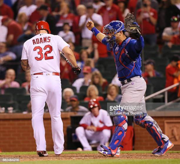 Chicago Cubs catcher Willson Contreras reacts after St. Louis Cardinals' Matt Adams struck out to end the game on Friday, May 12 at Busch Stadium in...