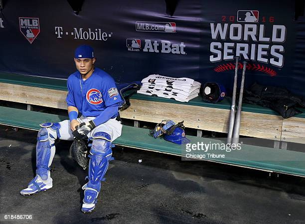 Chicago Cubs catcher Willson Contreras sits in the dugout before action against the Cleveland Indians in Game 2 of the World Series on Wednesday Oct...