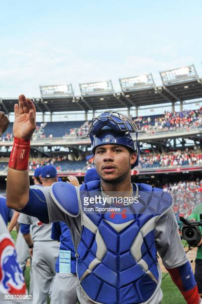 Chicago Cubs catcher Willson Contreras smiles coming off the field following an MLB game between the Chicago Cubs and the Washington Nationals on...