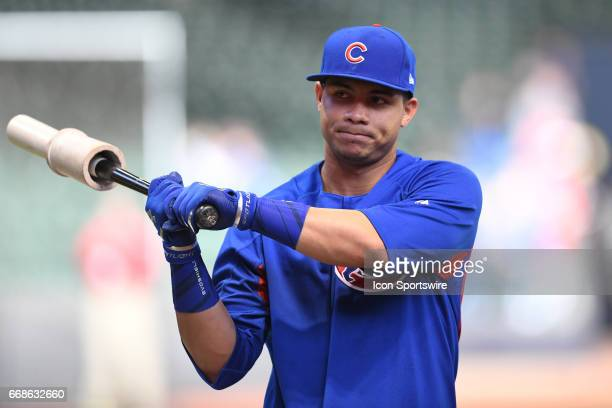 Chicago Cubs catcher Willson Contreras warms up prior to a game between the Chicago Cubs and the Milwaukee Brewers on April 7 at Miller Park in...