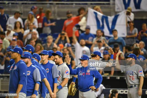 Chicago Cubs celebrate winning the series against the Miami Marlins at Marlins Park on April 17 2019 in Miami Florida