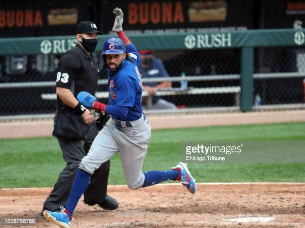 Chicago Cubs center fielder Billy Hamilton scores in the seventh inning against the Chicago White Sox on Sunday, September 27, 2020 at Guaranteed...