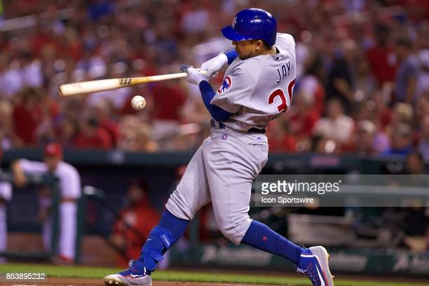 Chicago Cubs center fielder Jon Jay at bat against the St Louis Cardinals during a MLB baseball game between the St Louis Cardinals and the Chicago...