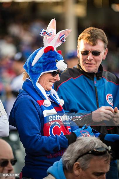 Chicago Cubs fan shows her Easter spirit before the Opening Night game against the St Louis Cardinals at Wrigley Field on Sunday April 5 2015 in...