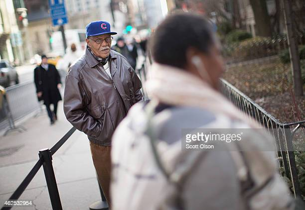 Chicago Cubs fans attend the visitation for former player Ernie Banks at the Fourth Presbyterian Church on January 30 2015 in Chicago Illinois Banks...