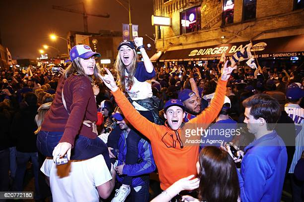 Chicago Cubs fans celebrate after the game 7 of the World Series between Cleveland Indians and Chicago Cubs in Cleveland Ohio USA on November 2 2016...