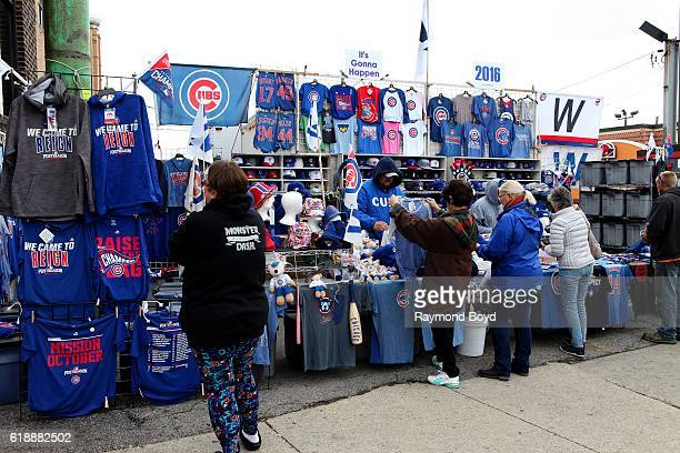 Chicago Cubs fans shops for merchandise on Addison Street to celebrate the Chicago Cubs' World Series birth outside Wrigley Field home of the Chicago...