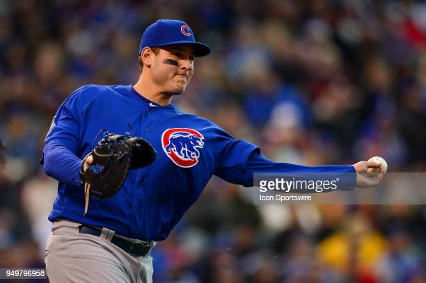 Chicago Cubs first baseman Anthony Rizzo throws out a baserunner during a regular season Major League Baseball game between the Chicago Cubs and the...