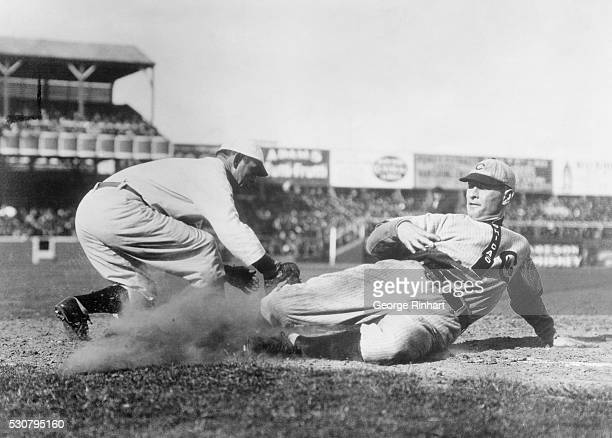 Chicago Cubs First Baseman Frank Chance Sliding into Home