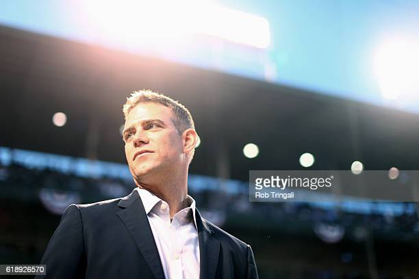 Chicago Cubs general manager Theo Epstein is seen on field before Game 3 of the 2016 World Series against the Cleveland Indians at Wrigley Field on...