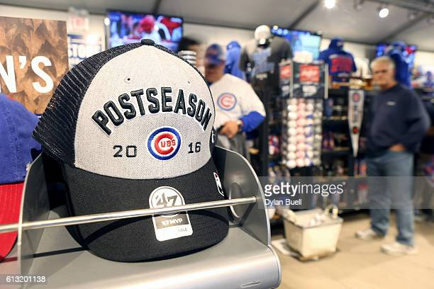 Chicago Cubs hat promoting the 2016 Postseason sits in a souvenir stand before the game between the Chicago Cubs and the San Francisco Giants at...