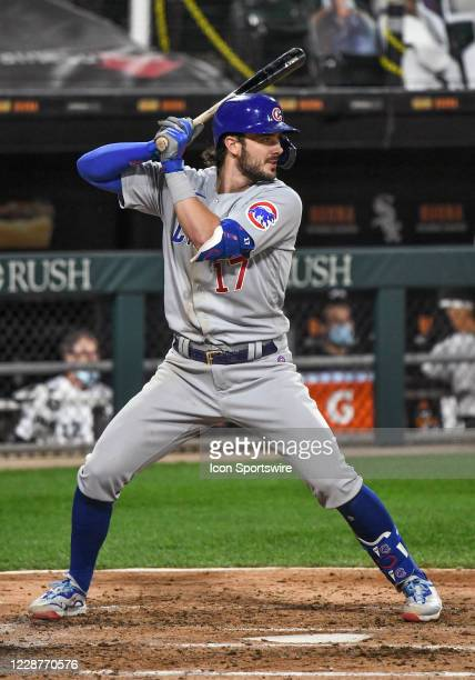 Chicago Cubs infielder Kris Bryant at the plate during a Major League Baseball game between the Chicago White Sox and Chicago Cubs on September 26 at...