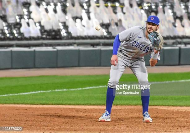 Chicago Cubs infielder Kris Bryant catches the ball during a Major League Baseball game between the Chicago White Sox and Chicago Cubs on September...