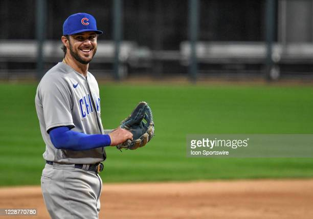 Chicago Cubs infielder Kris Bryant has a laugh with the White Sox dugout during a Major League Baseball game between the Chicago White Sox and...