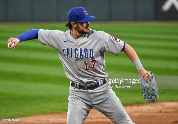 Chicago Cubs infielder Kris Bryant makes a throw during a Major League Baseball game between the Chicago White Sox and Chicago Cubs on September 26...