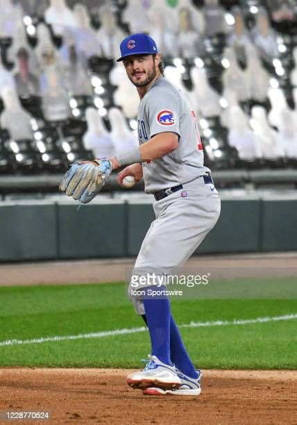 Chicago Cubs infielder Kris Bryant throws to 1st during a Major League Baseball game between the Chicago White Sox and Chicago Cubs on September 26...