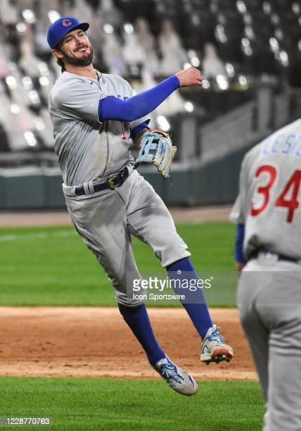 Chicago Cubs infielder Kris Bryant throws to 1st on the run during a Major League Baseball game between the Chicago White Sox and Chicago Cubs on...