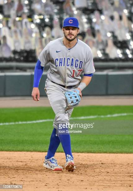 Chicago Cubs infielder Kris Bryant tracks the ball during a Major League Baseball game between the Chicago White Sox and Chicago Cubs on September 26...
