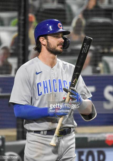 Chicago Cubs infielder Kris Bryant watches from the on-deck circle as he loosens up during a Major League Baseball game between the Chicago White Sox...
