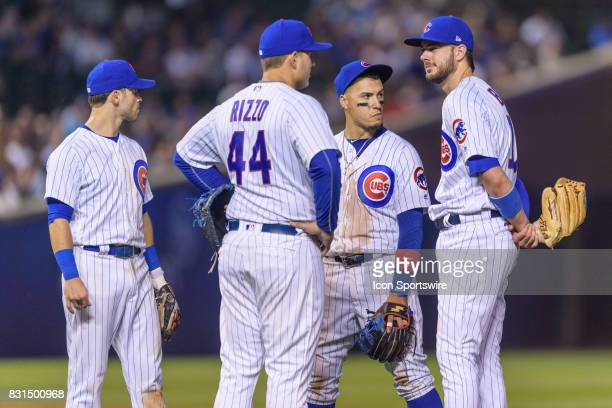 Chicago Cubs infielder Tommy La Stella , Chicago Cubs first baseman Anthony Rizzo , Chicago Cubs infielder Javier Baez , and Chicago Cubs third...