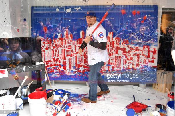 c75889b5692 Chicago Cubs  Kyle Schwarber surprises shoppers in window display at Macy s  on State Street before. Macy s Locker Room By Lids And Majestic Welcome ...