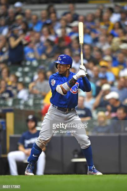Chicago Cubs left fielder Jon Jay at bat during a game between the and the Chicago Cubs the Milwaukee Brewers on September 21 at Miller Park in...