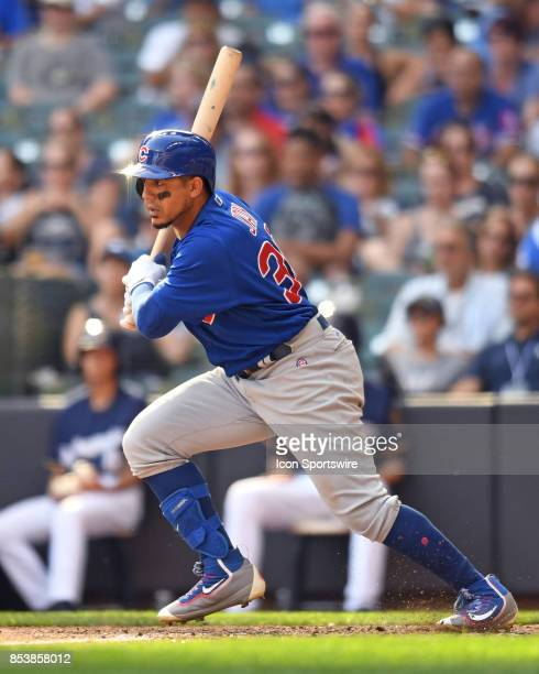 Chicago Cubs left fielder Jon Jay at bat during a game between the and the Chicago Cubs the Milwaukee Brewers on September 23 at Miller Park in...