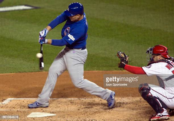 Chicago Cubs left fielder Jon Jay at bat in the fifth inning during game five of the NLDS between the Washington Nationals and the Chicago Cubs on...