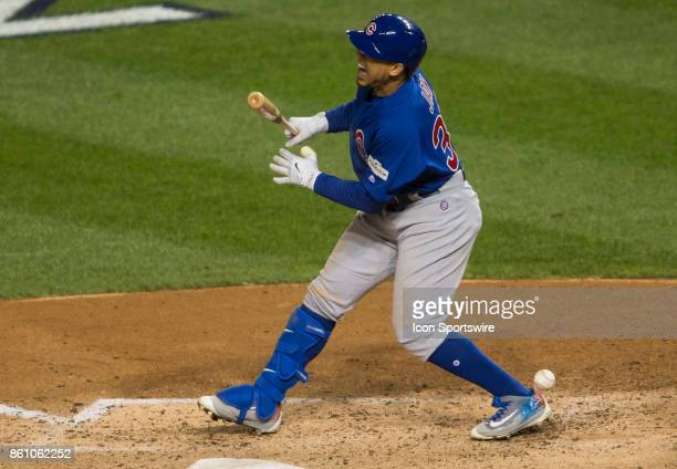 Chicago Cubs left fielder Jon Jay hit by a pitch in the fifth inning this play resulted in a score for the Cubs during game five of the NLDS between...