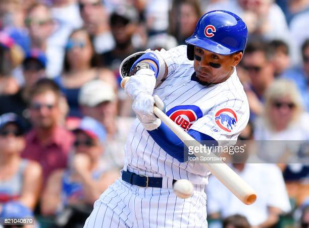 Chicago Cubs left fielder Jon Jay hits the ball for a ground out during the game between the St Louis Cardinals and the Chicago Cubs on July 22 2017...