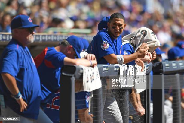 Chicago Cubs left fielder Jon Jay looks on from the bench during a game between the and the Chicago Cubs the Milwaukee Brewers on September 23 at...