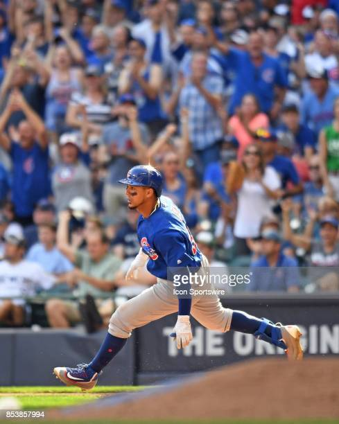 Chicago Cubs left fielder Jon Jay stops at first base during a game between the and the Chicago Cubs the Milwaukee Brewers on September 23 at Miller...