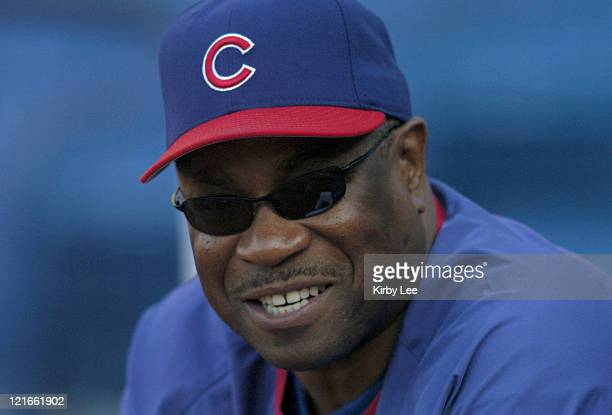 Chicago Cubs manager Dusty Baker watches batting practice before game against the Los Angeles Dodgers at Dodger Stadium on Tuesday, May 11, 2004.