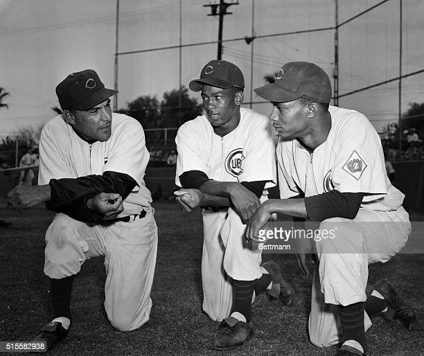 Chicago Cubs manager Phil Cavaretta talks strategy with shortstop Ernie Banks and second baseman Gene Baker at the Cubs' training camp in Mesa,...