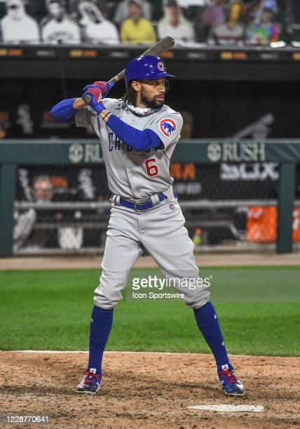 Chicago Cubs outfielder Billy Hamilton at the plate during a Major League Baseball game between the Chicago White Sox and Chicago Cubs on September...