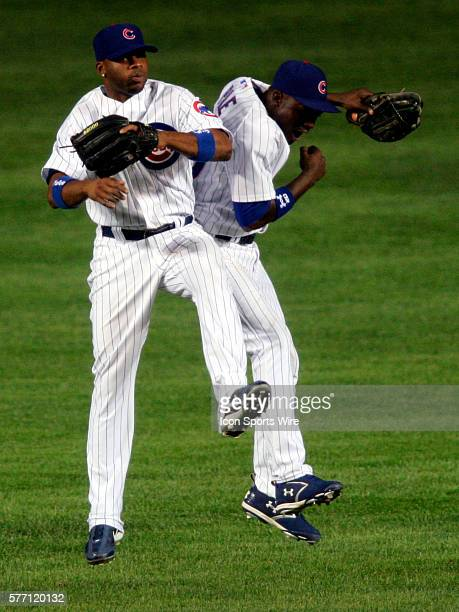 Chicago Cubs outfielders Alfonso Soriano and Felix Pie celebrate after the Milwaukee Brewers were defeated by the Cubs 53 at Wrigley Field in Chicago...