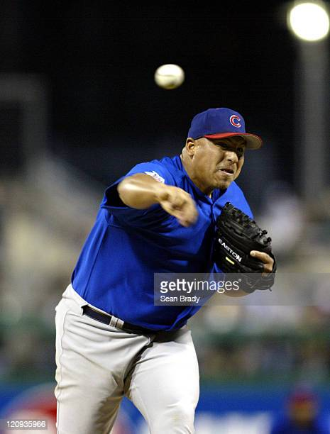 Chicago Cubs pitcher Carlos Zambrano in action against the Pittsburgh Pirates at PNC Park in Pittsburgh, Pennsylvania on April 15, 2005.