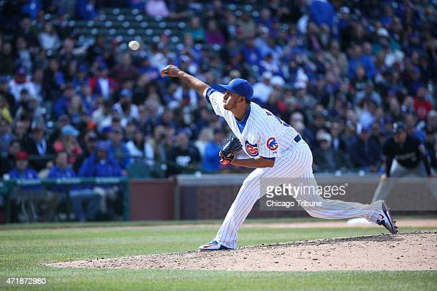 Chicago Cubs pitcher Hector Rondon works in the ninth inning against the Milwaukee Brewers at Wrigley Field in Chicago on Friday May 1 2015 The Cubs...