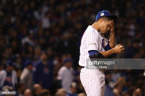 Chicago Cubs pitcher Jose Quintana struggles in the third inning and is pulled from the game against the Los Angeles Dodgers in Game 5 of the...
