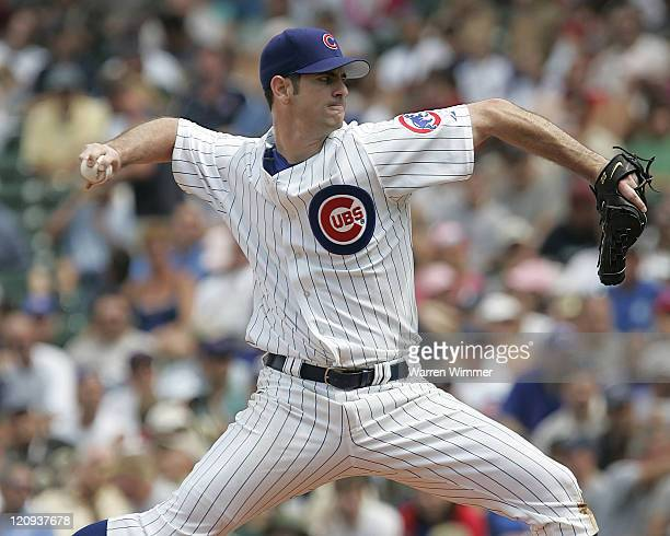 Chicago Cubs pitcher Mark Prior in action at Wrigley Field in Chicago Illiinois on July 14 2005 Chicago Cubs over the Pittsburg Pirates by a score of...