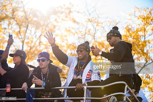 Chicago Cubs pitcher Pedro Strop center seen in the World Series parade on Addison Street in Chicago on November 4 2016 The Chicago Cubs are...