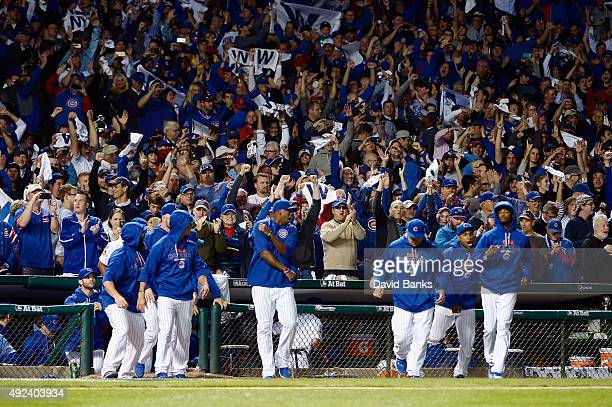 Chicago Cubs players celebrate after the Chicago Cubs defeat the St Louis Cardinals 8 to 6 in game three of the National League Division Series at...