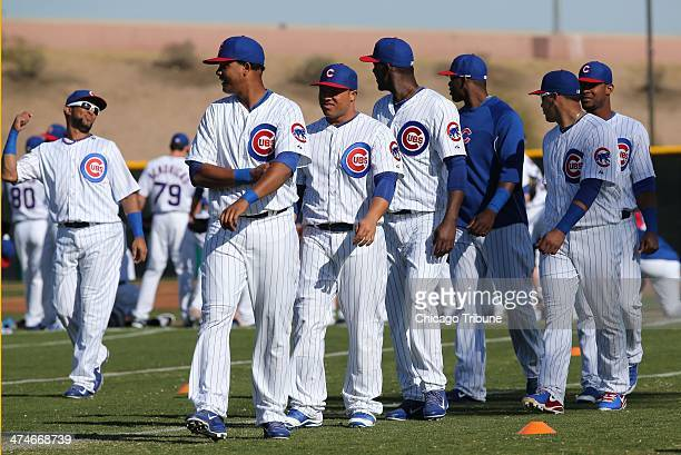 Chicago Cubs players take the field at spring training in Mesa Ariz on Monday Feb 24 2014
