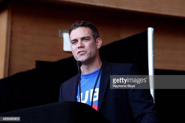 Chicago Cubs President of Baseball Operations Theo Epstein speaks during the Jackie Robinson West US Little League World Series Championship rally at...