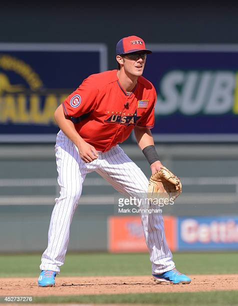 Chicago Cubs prospect Kris Bryant of Team USA fields during the 2014 SiriusXM All-Star Futures Game against the World Team at Target Field on July...